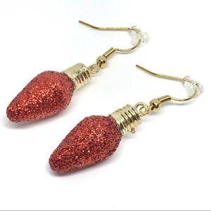 Christmas Holiday Red Light Bulb Dangle Earrings